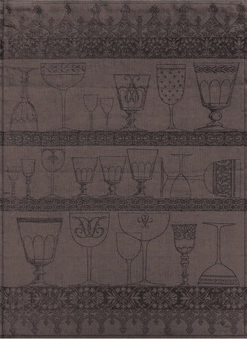 "Jacquard Français ""Cristal"" (Black Pepper), Woven linen tea towel. Made in France. - Home Landing"