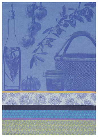 "Jacquard Français ""Saveurs de Provence"" (Lavender Blue), Woven cotton tea towel. Made in France - Home Landing"