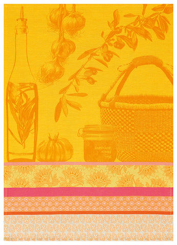 "Jacquard Français ""Saveurs de Provence"" (Lemon), Woven cotton tea towel. Made in France - Home Landing"