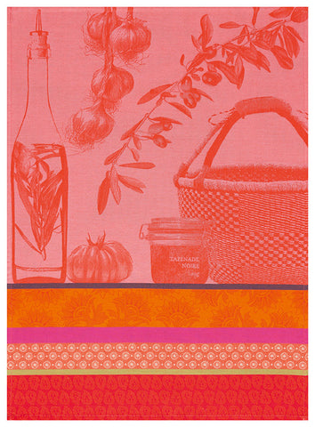 "Jacquard Français ""Saveurs de Provence"" (Watermelon), Woven cotton tea towel. Made in France. - Home Landing"