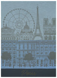 "Jacquard Français ""Paris Panorama""(Azure), Woven cotton tea towel. Made in France. - Home Landing"