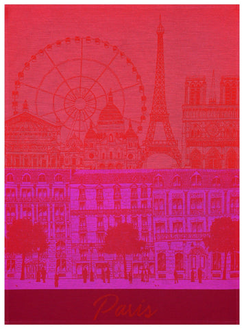 "Jacquard Français ""Paris Panorama""(Red Kiss), Woven cotton tea towel. Made in France. - Home Landing"
