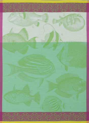 "Jacquard Français ""Moorea"" (Green), Woven cotton tea towel. Made in France. - Home Landing"