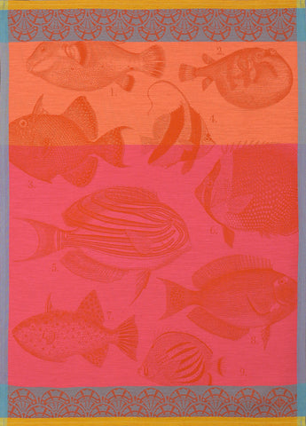 "Jacquard Français ""Moorea"" (Coral), Woven cotton tea towel. Made in France. - Home Landing"
