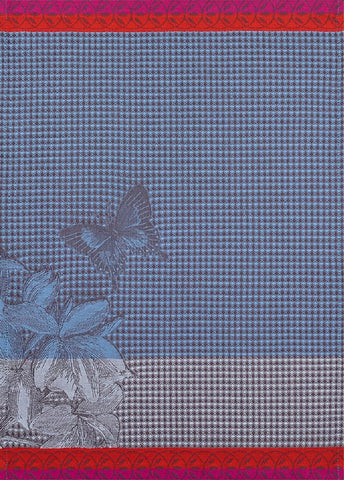 "Jacquard Français ""Jardin des Papillons"" (Blue), Woven cotton hand towel. Made in France"