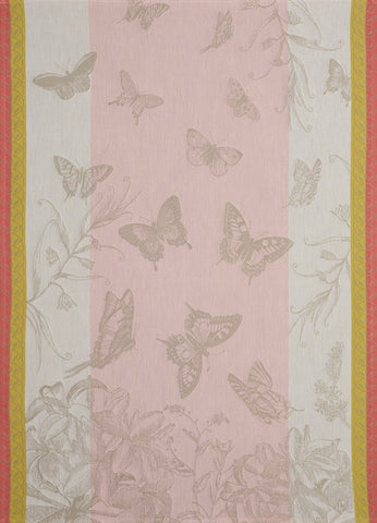 "Jacquard Français ""Jardin des Papillons"" (Magnolia), Woven cotton tea towel. Made in France."