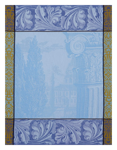 "Jacquard Français ""Baroque Jardin"" (Iris), Woven cotton tea towel. Made in France - Home Landing"