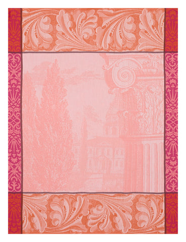"Jacquard Français ""Baroque Jardin"" (Rose), Woven cotton tea towel. Made in France - Home Landing"