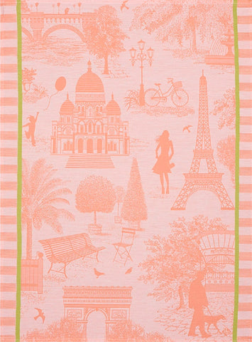"Jacquard Français ""Paris sur Toile"" (Melon), Woven cotton tea towel. Made in France"
