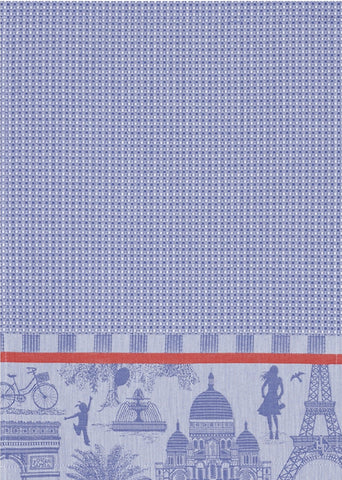 "Jacquard Français ""Petit Paris ""(Purple), Woven cotton hand towel. Made in France."