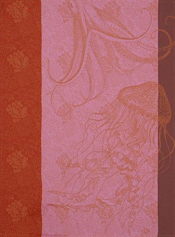 "Jacquard Français ""Fonds Marins, Meduse"" (Anenome), Woven cotton tea towel. Made in France."