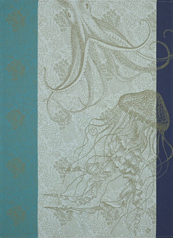 "Jacquard Français ""Fonds Marins, Meduse"" (Pacific), Woven cotton tea towel. Made in France. - Home Landing"