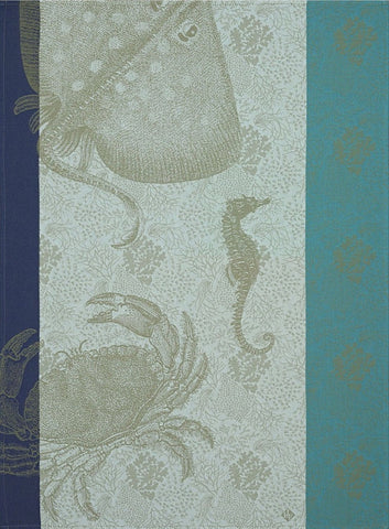 "Jacquard Français ""Fonds Marins, Crabe"" (Pacific), Woven cotton tea towel. Made in France. - Home Landing"