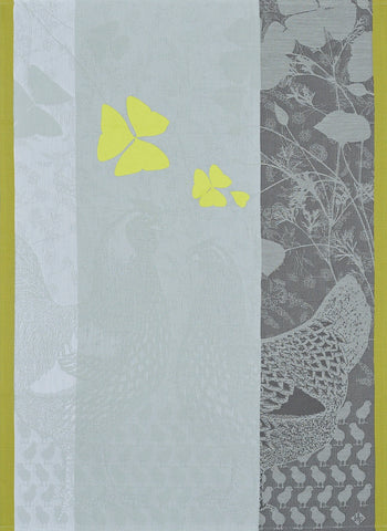 "Jacquard Français ""Farm Family"" (Yellow), Woven cotton tea towel. Made in France"