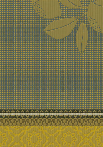 "Jacquard Français ""Sous les Citronniers"" (Yellow), Woven cotton hand towel. Made in France."