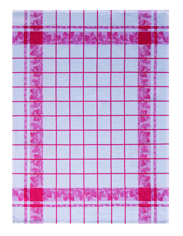 "Jacquard Français ""Fraises"" (Red/White), Woven cotton tea towel. Made in France. - Home Landing"