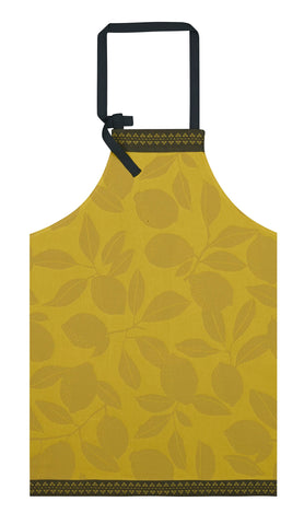 "Jacquard Français ""Sous les Citronniers"" (Yellow), Woven cotton apron. Made in France."