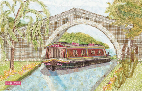 "Emma Ball ""Abigail Mill Canal Barge"", Pure cotton tea towel. Printed in the UK. - Home Landing"