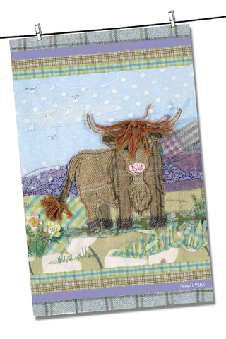 "Emma Ball ""Abigail Mill Tweedie Highland Cow"", Pure cotton tea towel. Printed in the UK."