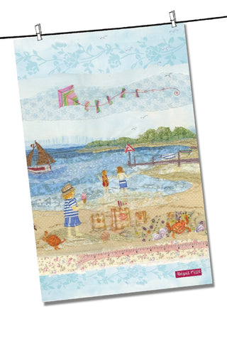 "Emma Ball ""Abigail Mill Sunny Seaside Days"", Pure cotton tea towel. Printed in the UK. - Home Landing"