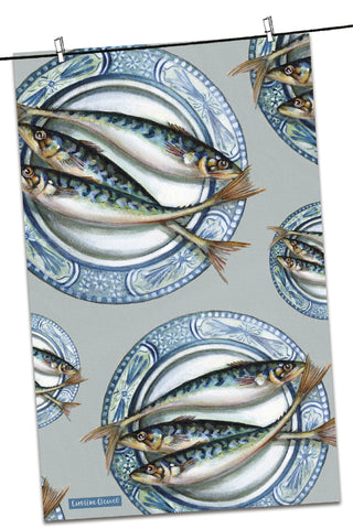 "Emma Ball ""Caroline Cleave Plated Mackerel"", Pure cotton tea towel. Printed in the UK."