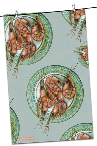 "Emma Ball ""Caroline Cleave Plated Prawns"", Pure cotton tea towel. Printed in the UK."
