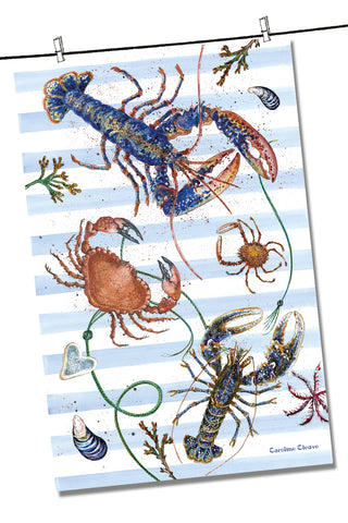 "Emma Ball ""Caroline Cleave Fruits of the Sea"", Pure cotton tea towel. Printed in the UK."