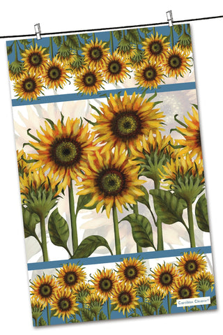 "Emma Ball ""Caroline Cleave Sunflower"", Pure cotton tea towel. Printed in the UK."