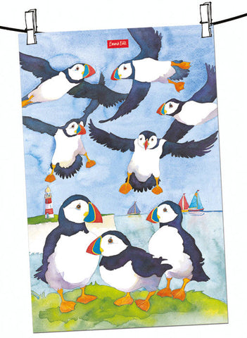 "Emma Ball ""Seaside Puffins"", Pure cotton tea towel. Printed in the UK."