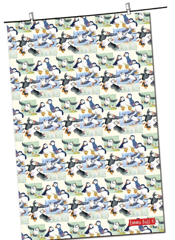 "Emma Ball ""Repeat Puffin"", Pure cotton tea towel. Printed in the UK."