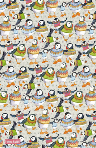 "Emma Ball ""Woolly Puffins"", Pure cotton tea towel. Printed in the UK. - Home Landing"