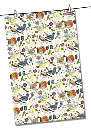 "Emma Ball ""Stitched Birdies"", Pure cotton tea towel. Printed in the UK. - Home Landing"