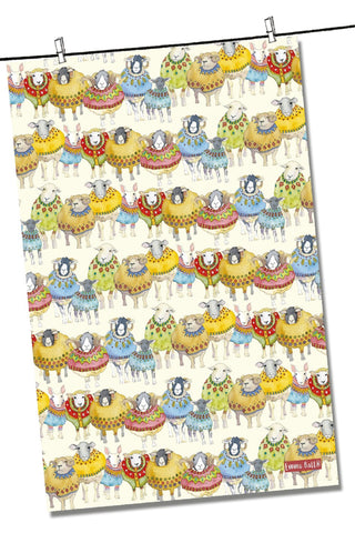 "Emma Ball ""Sheep in Sweaters"", Pure cotton tea towel. Printed in the UK. - Home Landing"
