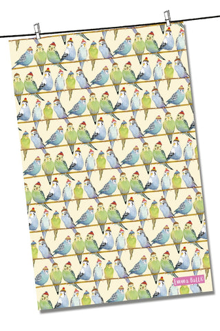 "Emma Ball ""Budgies in Beanies"", Pure cotton tea towel. Printed in the UK. - Home Landing"