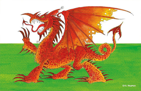 "Emma Ball ""Eric Heyman Welsh Dragon"", Pure cotton tea towel. Printed in the UK. - Home Landing"