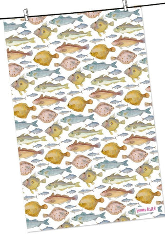 "Emma Ball ""Fishes"", Pure cotton tea towel. Printed in the UK. - Home Landing"