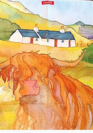 "Emma Ball ""Highland Coo"", Pure cotton tea towel. Printed in the UK."