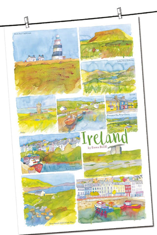 "Emma Ball ""Ireland"", Pure cotton tea towel. - Home Landing"