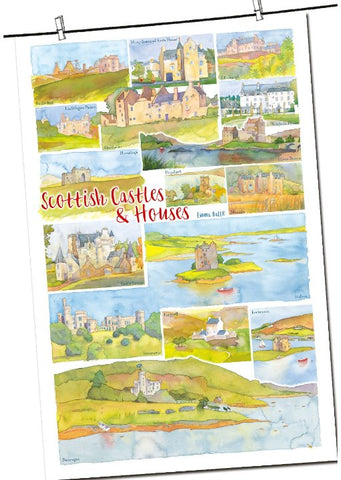 "Emma Ball ""Scottish Castles & Houses"", Pure cotton tea towel. Printed in the UK. - Home Landing"