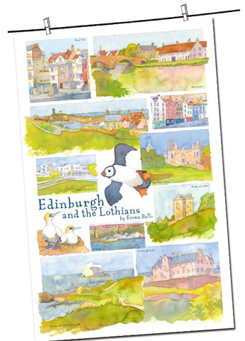 "Emma Ball ""Edinburgh & the Lothians"", Pure cotton tea towel. Printed in the UK. - Home Landing"