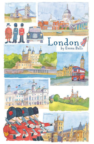 "Emma Ball ""London"", Pure cotton tea towel. Printed in the UK."