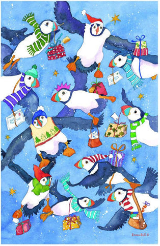 "Emma Ball ""Christmas Puffins"", Pure cotton tea towel. Printed in the UK."