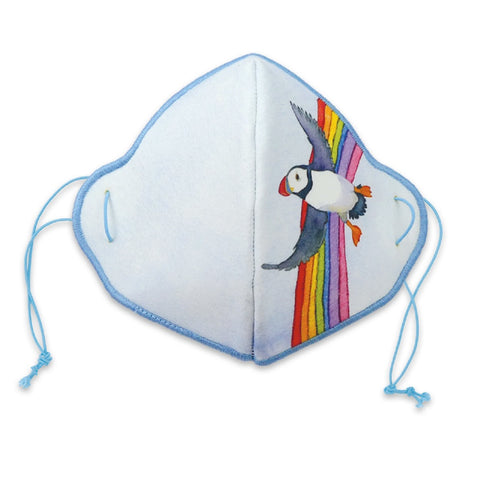 "Emma Ball ""Rainbow Puffin"", Washable Face-Covering. Made in Scotland."
