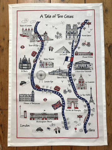 "Home-Landing, ""A Tale of Two Cities"", Pure Cotton tea towel. Printed in the UK. - Home Landing"