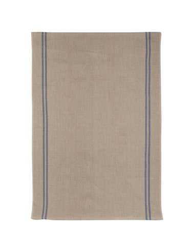 "Charvet Editions ""Country"" (Blue), Natural woven linen tea towel. Made in France."