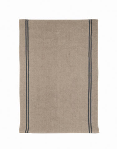 "Charvet Editions ""Country"" (Black), Natural woven linen tea towel.  Made in France."