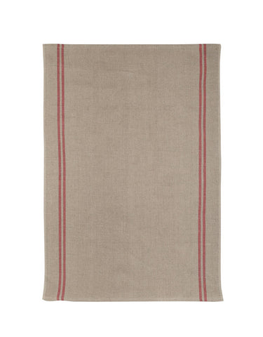 "Charvet Editions ""Country"" (Red), Natural woven linen tea towel. Made in France."