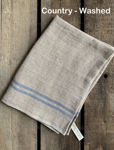 "Charvet Éditions ""Country Washed"" (Blue), Natural woven linen tea towel. Made in France."