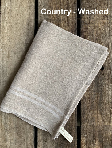 "Charvet Éditions ""Country Washed"" (Écru), Natural woven linen tea towel. Made in France."