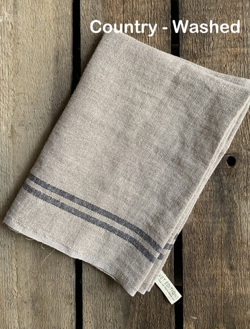 "Charvet Éditions ""Country Washed"" (Black), Natural woven linen tea towel.  Made in France."